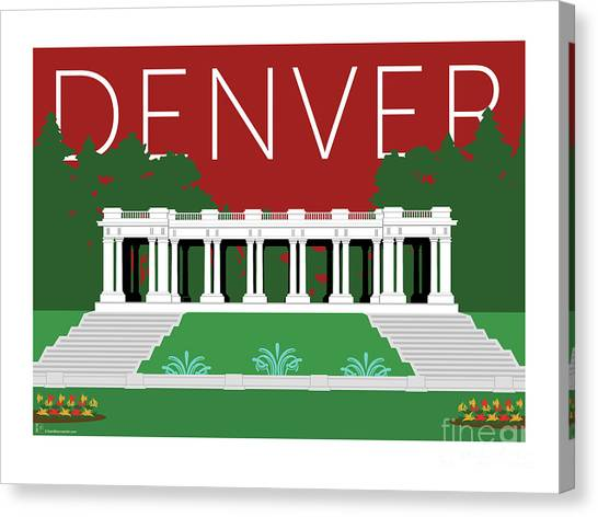 Denver Cheesman Park/maroon Canvas Print