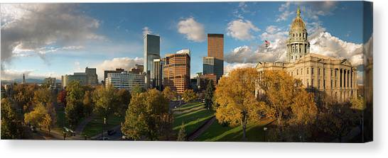 Denver, Colorado, Capitol Skyline Panoramic Canvas Print by Steve Mohlenkamp