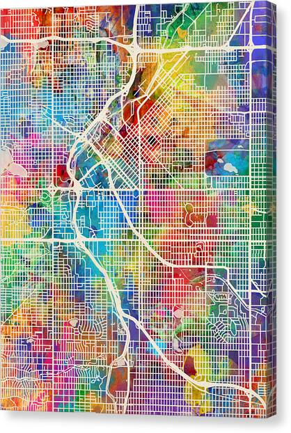 Denver Canvas Print - Denver Colorado Street Map by Michael Tompsett