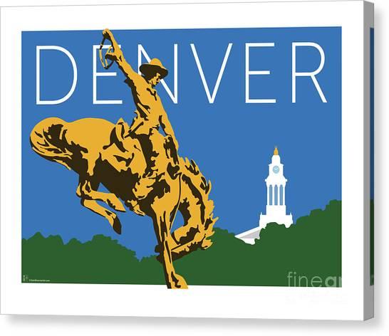 Denver Cowboy/dark Blue Canvas Print