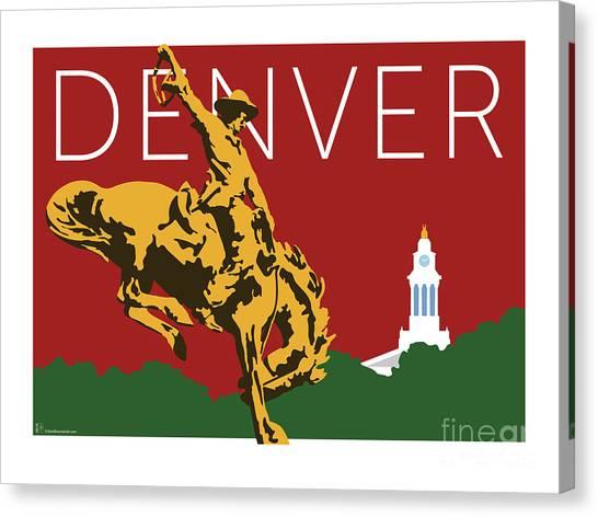 Denver Cowboy/maroon Canvas Print