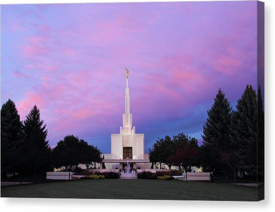 Denver Lds Temple At Sunrise Canvas Print