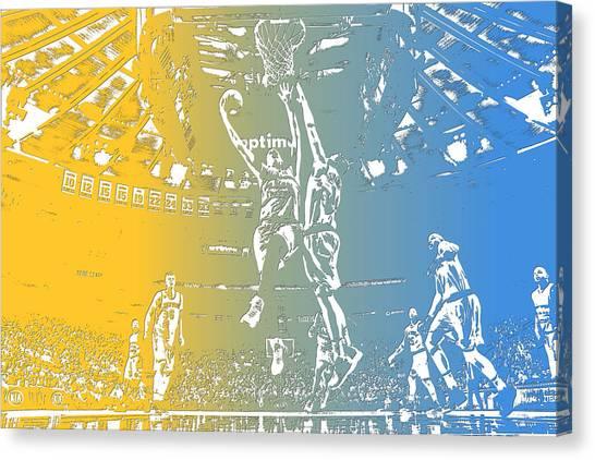 Denver Nuggets Canvas Print - Denver Nuggets Team Pixel Art 2 by Joe Hamilton