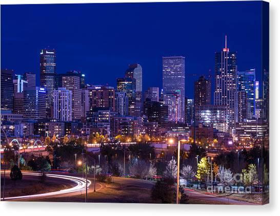 Denver Skyline At Night - Colorado Canvas Print