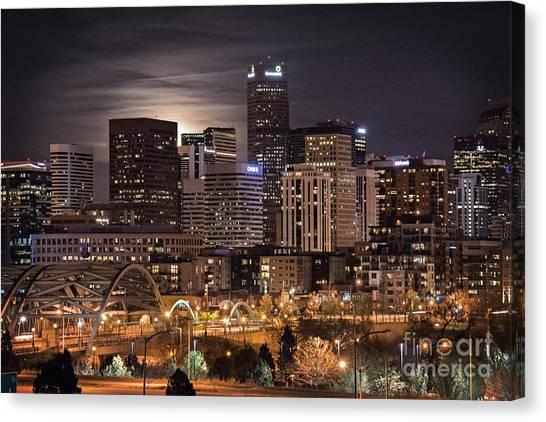 Denver Skyline At Night Canvas Print