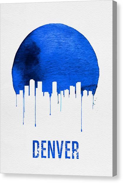 Denver Canvas Print - Denver Skyline Blue by Naxart Studio
