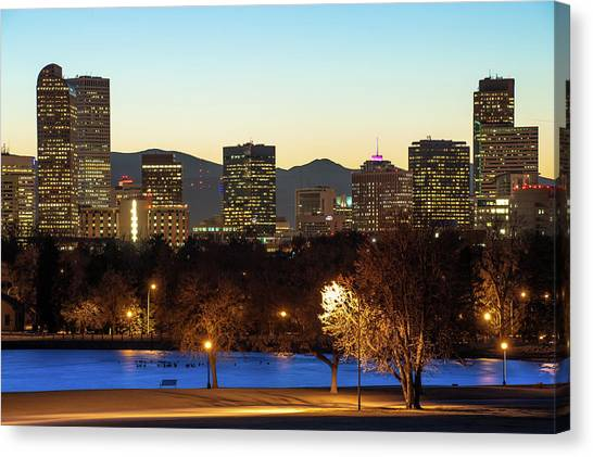 Canvas Print featuring the photograph Denver Skyline - City Park View - Cool Blue by Gregory Ballos