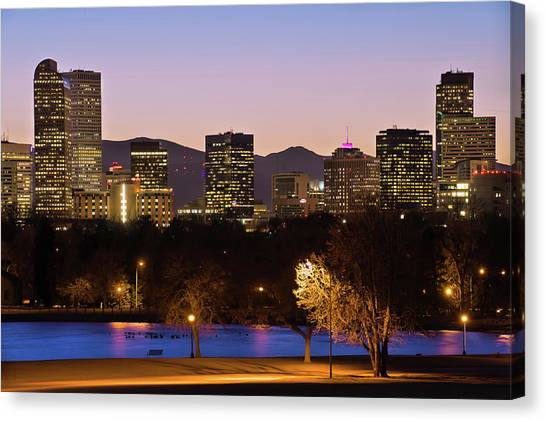 Denver Skyline - City Park View Canvas Print