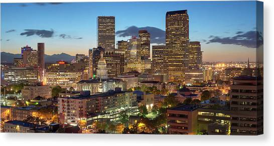 Denver Skyline Evening Panoramic Canvas Print by Steve Mohlenkamp