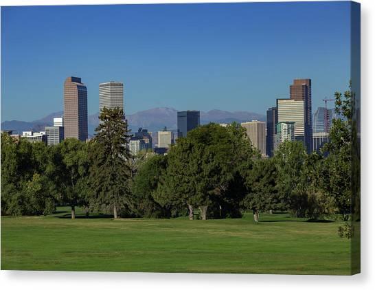 Interstates Canvas Print - Denver Skyline From City Park Golf Course by Bridget Calip