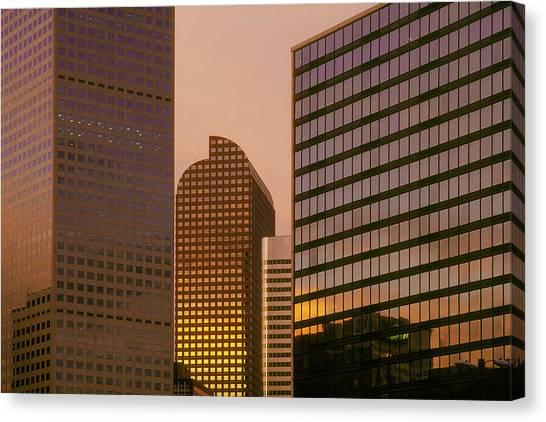 Denver Skyline Of Glass Canvas Print by Steve Mohlenkamp