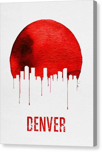 Denver Canvas Print - Denver Skyline Red by Naxart Studio