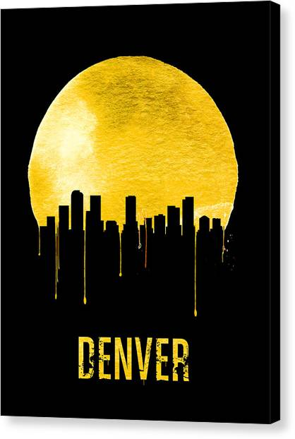 Denver Canvas Print - Denver Skyline Yellow by Naxart Studio