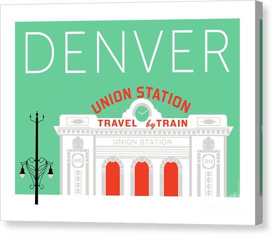 Denver Union Station/aqua Canvas Print