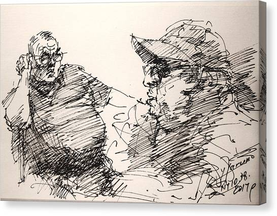 Ink Drawing Canvas Print - Deny And Jon by Ylli Haruni