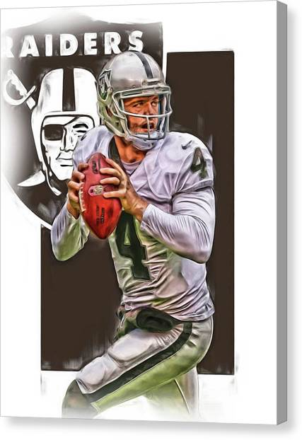 Oakland Raiders Canvas Print - Derek Carr Oakland Raiders Oil Art by Joe Hamilton