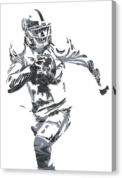 Oakland Raiders Canvas Print - Derek Carr Oakland Raiders Pixel Art 10 by Joe Hamilton