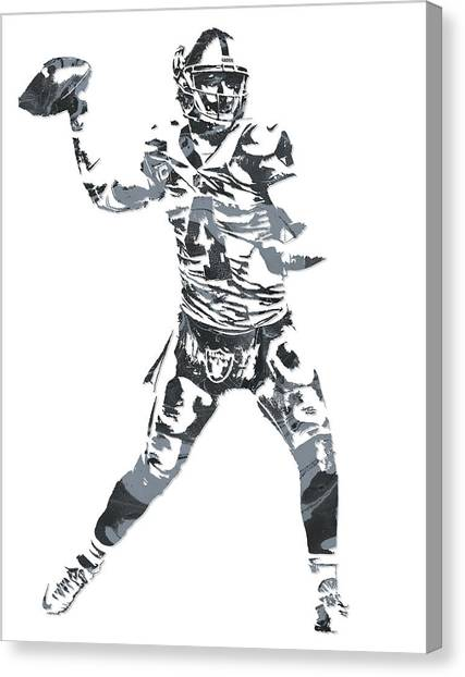 Oakland Raiders Canvas Print - Derek Carr Oakland Raiders Pixel Art 11 by Joe Hamilton