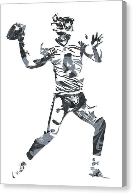 Oakland Raiders Canvas Print - Derek Carr Oakland Raiders Pixel Art 12 by Joe Hamilton