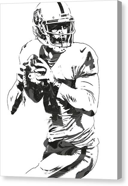 Oakland Raiders Canvas Print - Derek Carr Oakland Raiders Pixel Art by Joe Hamilton