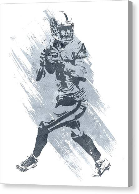 Oakland Raiders Canvas Print - Derek Carr Oakland Raiders Water Color Art 1 by Joe Hamilton