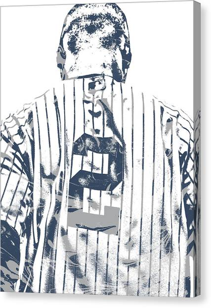 New York Yankees Canvas Print - Derek Jeter New York Yankees Pixel Art 11 by Joe Hamilton