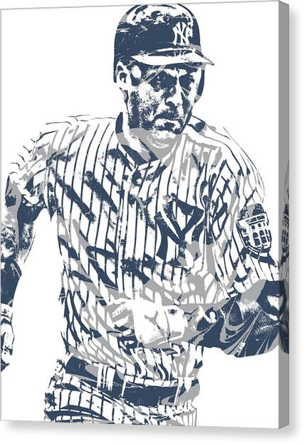 Derek Jeter Canvas Print - Derek Jeter New York Yankees Pixel Art 12 by Joe Hamilton