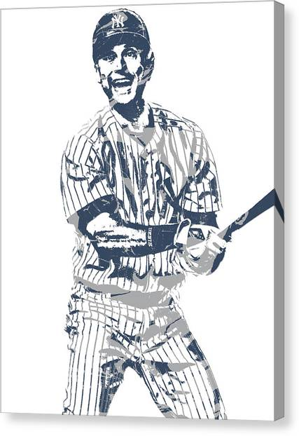 Derek Jeter Canvas Print - Derek Jeter New York Yankees Pixel Art 13 by Joe Hamilton