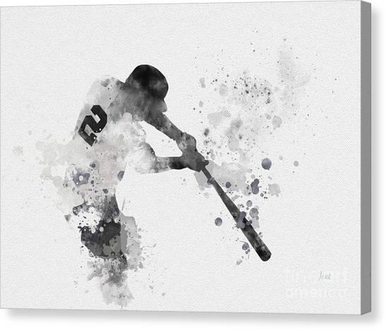 New York Yankees Canvas Print - Derek Jeter by Rebecca Jenkins