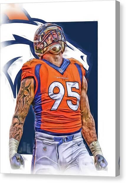 Denver Broncos Canvas Print - Derek Wolfe Denver Broncos Oil Art by Joe Hamilton