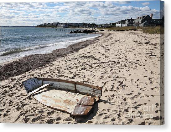 Derelict  Boat, Falmouth Beach Canvas Print by Bryan Attewell
