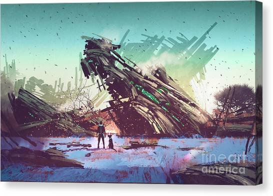 Canvas Print featuring the painting Derelict Ship by Tithi Luadthong