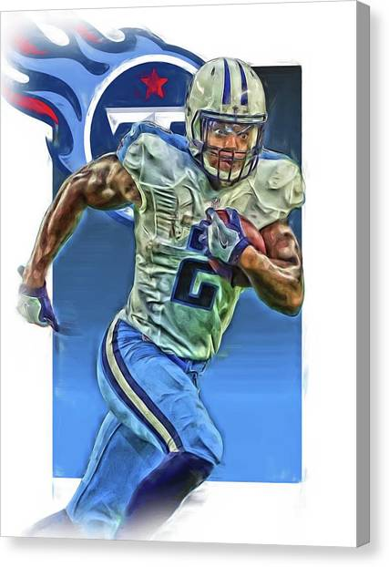 Tennessee Titans Canvas Print - Derrick Henry Tennessee Titans Jersey Number 2 Oil Art by Joe Hamilton