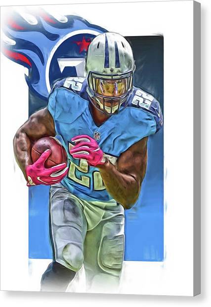 Tennessee Titans Canvas Print - Derrick Henry Tennessee Titans Jersey Number 22 Oil Art by Joe Hamilton