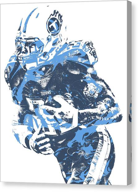 Tennessee Titans Canvas Print - Derrick Henry Tennessee Titans Pixel Art 10 by Joe Hamilton