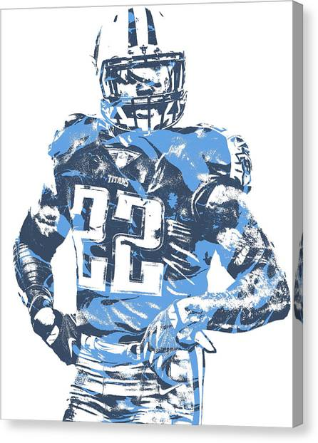 Tennessee Titans Canvas Print - Derrick Henry Tennessee Titans Pixel Art 12 by Joe Hamilton
