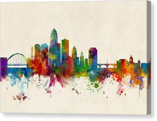 Iowa Canvas Print - Des Moines Iowa Skyline by Michael Tompsett