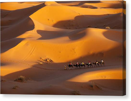 Desert And Caravan Canvas Print