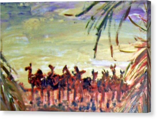 Arabian Desert Canvas Print - Desert Camel Mirage by Patricia Taylor