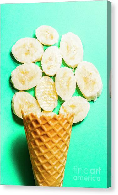 Bananas Canvas Print - Dessert Concept Of Ice-cream Cone And Banana Slices by Jorgo Photography - Wall Art Gallery