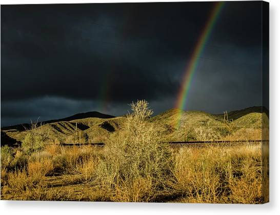 Desert Double Rainbow Canvas Print