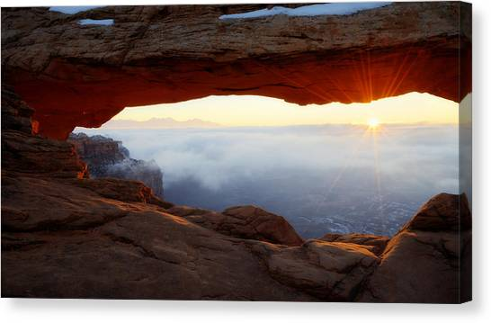 Red Rock Canvas Print - Desert Fog by Chad Dutson