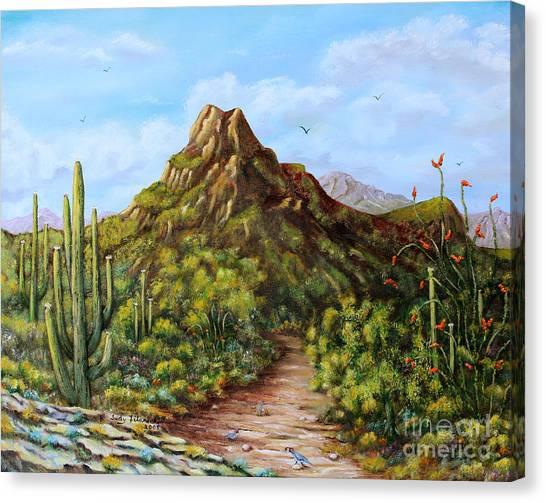 Desert Landscape Gambel's Quail Canvas Print