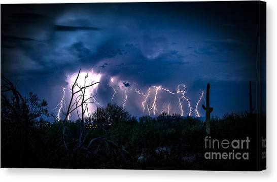 Rain Barrel Canvas Print - Desert Monsoon by Jon Berghoff