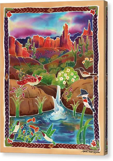 Wrens Canvas Print - Desert Oasis by Harriet Peck Taylor
