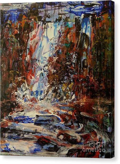 Canvas Print featuring the painting Desert Oasis Waterfall by Reed Novotny