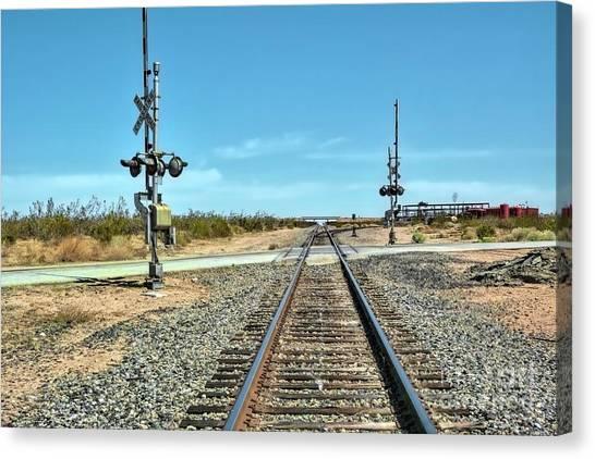 Desert Railway Crossing Canvas Print