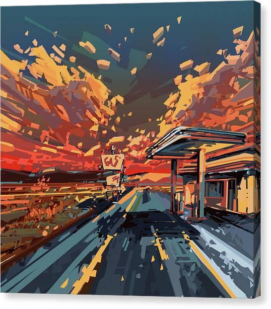 Southwest Canvas Print - Desert Road Landscape 2 by Bekim M