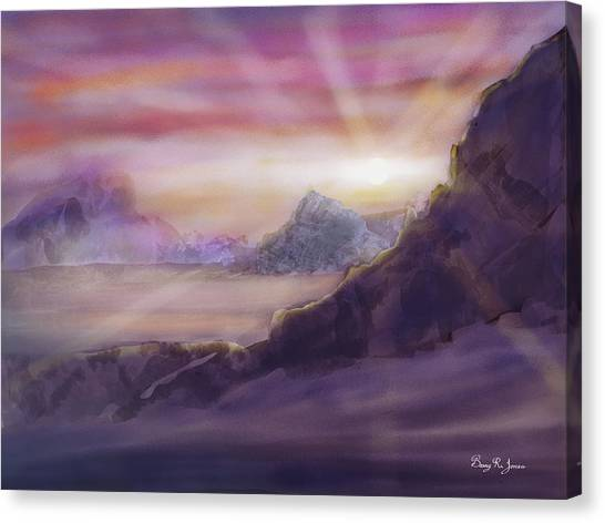 Canvas Print featuring the digital art Desert Sunrise by Barry Jones
