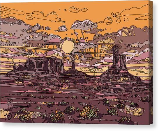 Southwest Canvas Print - Desert Sunset 2 by Bekim M